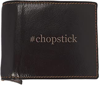#chopstick - Soft Hashtag Cowhide Genuine Engraved Bifold Leather Wallet