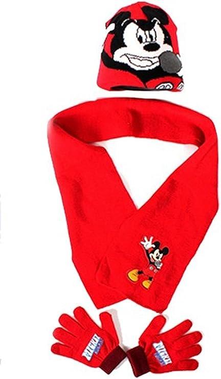 Mickey Mouse Coordinati invernali Arditex Topolino Cappello Sciarpa e Guanti per bambini