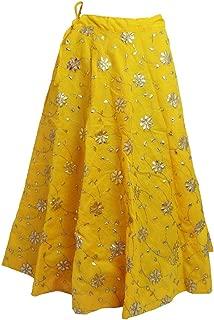 Indian Dresses Store MAMTA Women's Raw Silk Umbrella Cut Gota Patti Lehenga Skirt (Yellow, Free Size)