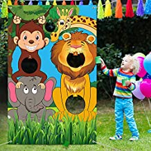 Safari Animals Toss Games Banner with Bean Bags Jungle Wild Animals Backdrop Zoo Animals Photo Background Funny Animals Toss Game for Kids Birthday Party Supplies