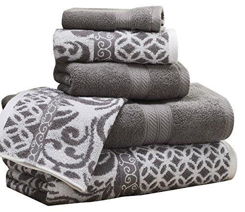 Amrapur Overseas | Trefoil Filigree 6 Piece Reversible Yarn Dyed Jacquard Towel Set (Platinum)