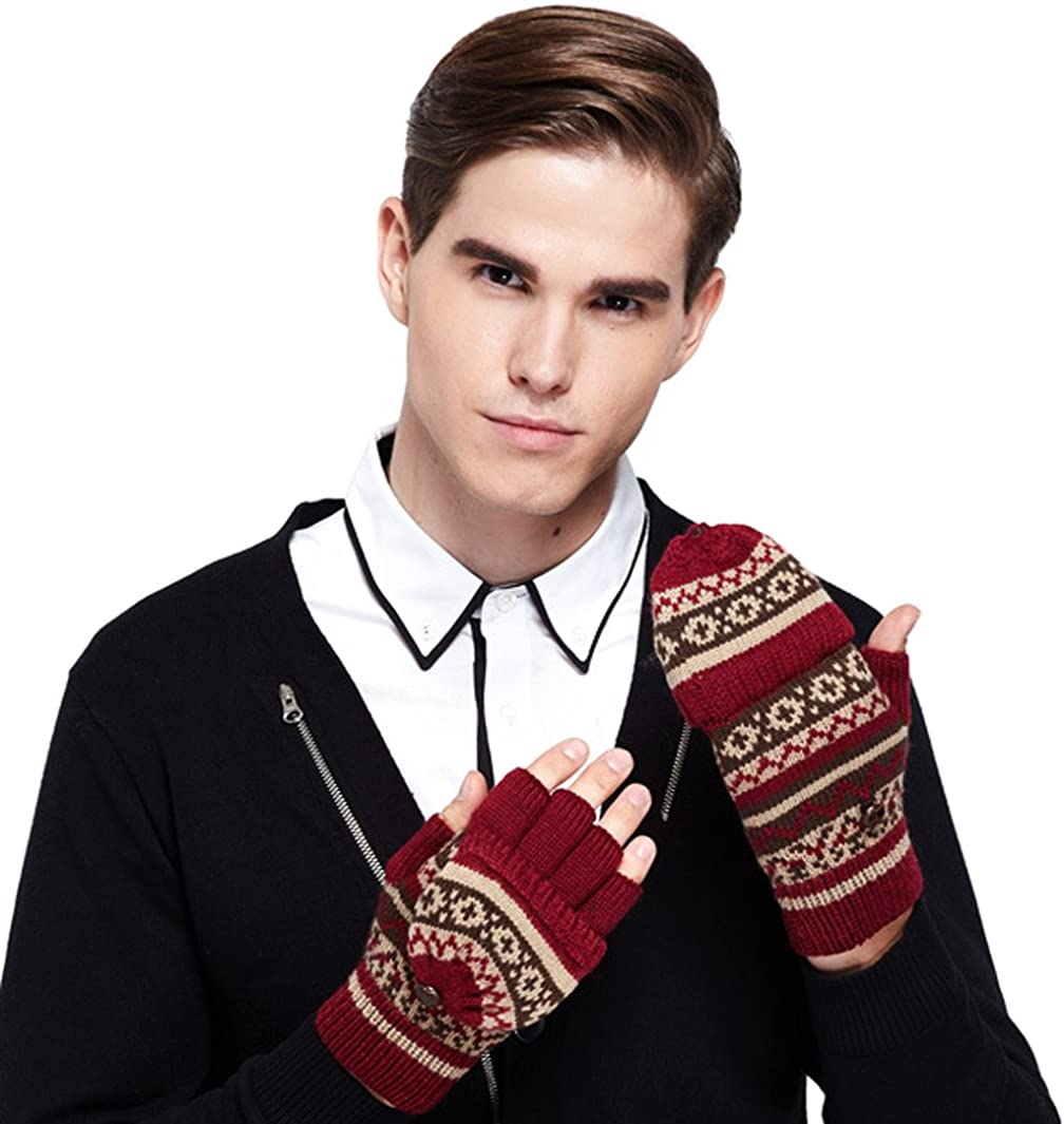 Christmas Thick Knit Gloves Winter Fingerless Winter Gloves for Womens&mans