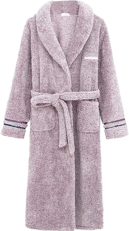 Damixi Plush Bathrobe for Women, Coral Warm Bath Shower Robes Soft and Comfortable