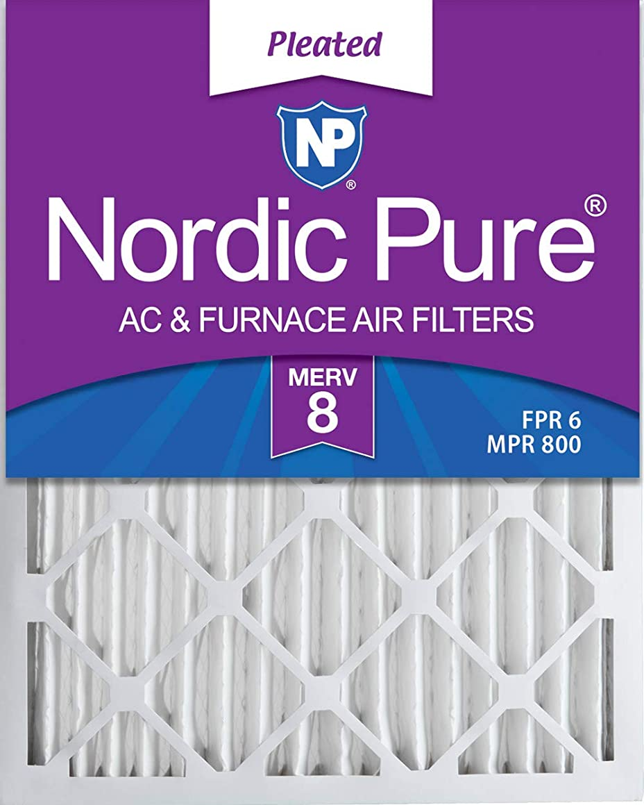 Nordic Pure 16x25x2 MERV 8 Pleated AC Furnace Air Filters, 16x25x2, 3 Pack