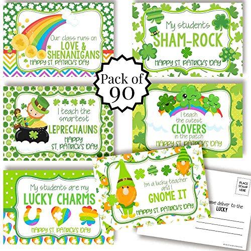 AmandaCreation 幸運の四つ葉のクローバーテーマ Happy St. Patrick's Day 教師用ブランクポストカード 4インチx6インチ ノートカードに記入 (6種類のデザイン)