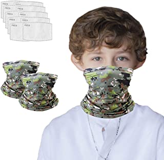 Kids Neck Gaiter for 6-14 Years Olds with Carbon Filter,...