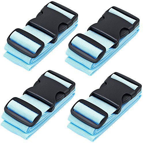 BlueCosto Luggage Strap Suitcase Straps Belts Travel Accessories, 4-Pack, Blue