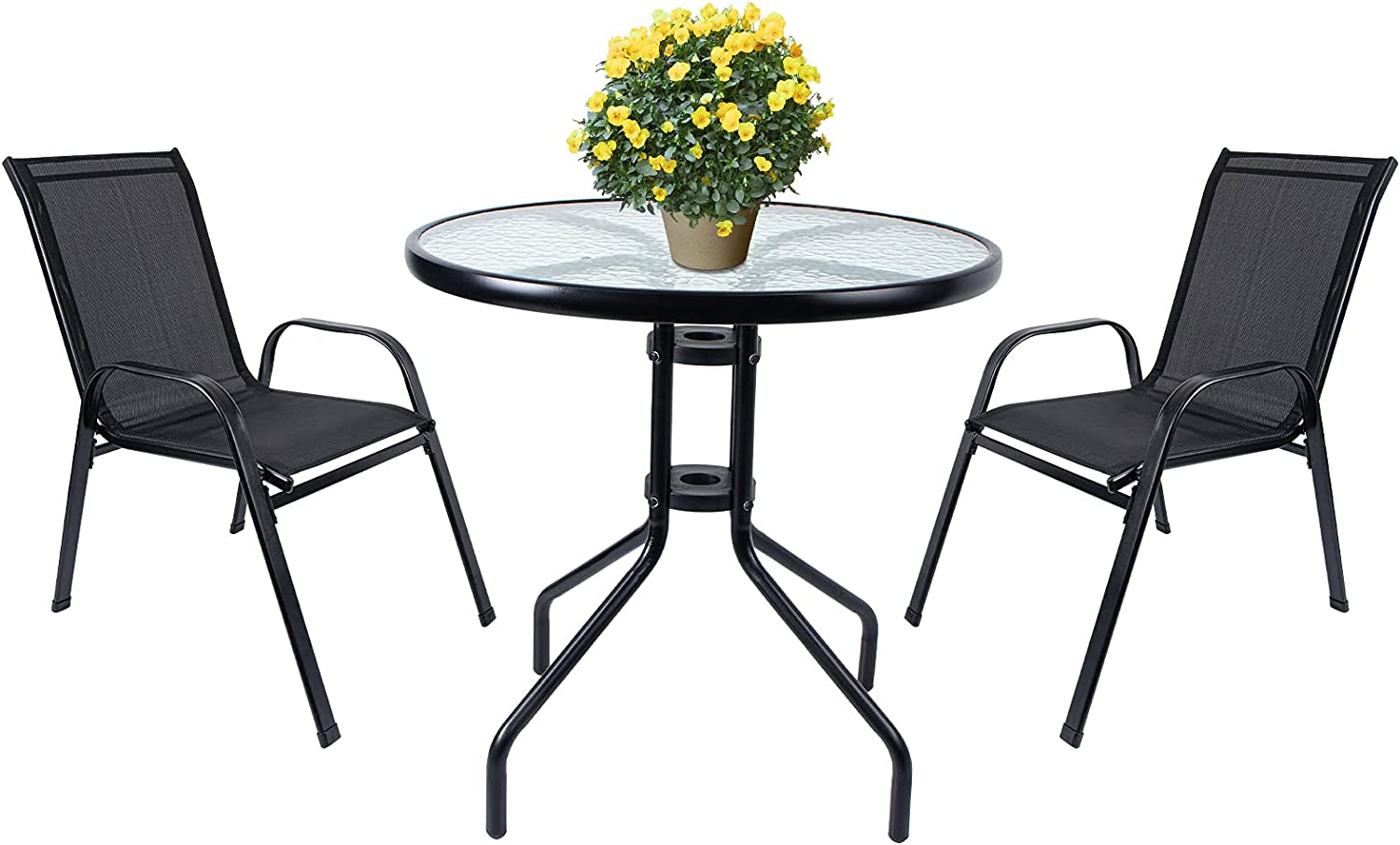 Vipush Patio Bistro Set,3 Piece Outdoor Patio Furniture Set,Patio Table and Chairs Indoor Conversation Set for Backyard Porch Poolside Lawn,Black