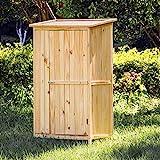 WilTec Armoire de Jardin Porte Simple Bois Rangement pour Outils Remise Abri Cabane Jardinage quipement