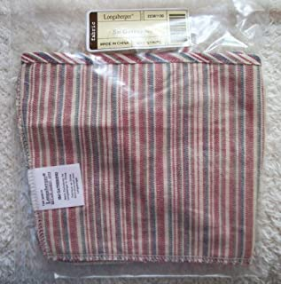 Longaberger Small Gathering Basket Market Stripe Color Fabric Over Edge Style Liner