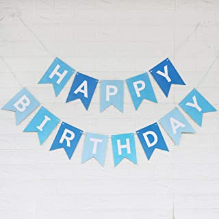 Tri-Color Blue Happy Birthday Banner with White Letters, Swallowtail Design Hanging Signs Party Decorations