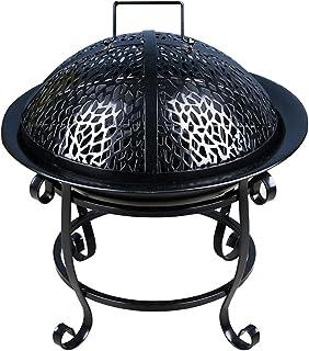 BBGS BBQ Fire Pit med Grill, Metallvärmare Brandglasögon, 4-ben Brandkorg med Metallram/Mesh Lid Poker Loggar Hylla för Tr...