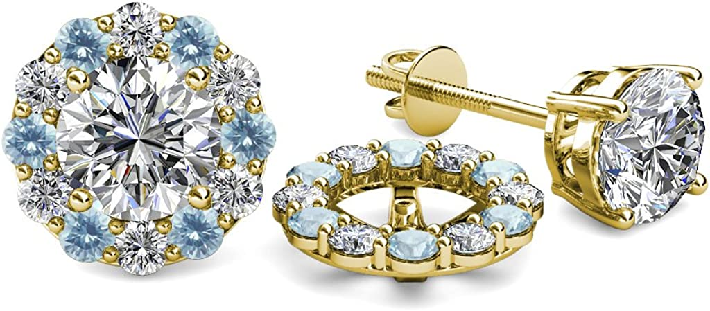 TriJewels Diamond and Aquamarine 0.76 Carat tw Women Halo Jackets for Stud Earrings in 14K Yellow Gold
