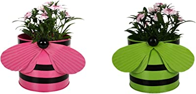 TrustBasket Metal Bee Planters (Pink and Green, 2-Pieces)