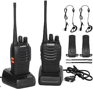 CACAGOO Walkie Talkie Recargable 16 Canales 1500mah CTCSS DCS 6KM, Talkie walkie UHF con el Auricular Incorporado Antorcha...