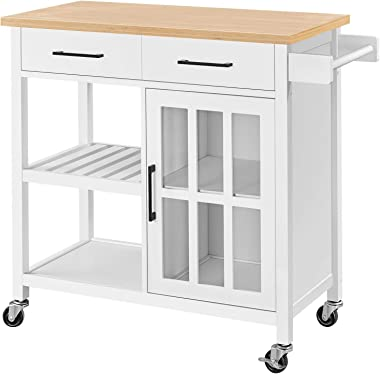 Topeakmart Wood Kitchen Cabinet on Wheels, Rolling Utility Trolley with Drawer, Storage Shelves, Wine Bottle Rack, Towel Hand