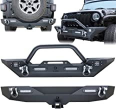 Vijay Textured Black Front and Rear Bumper with 6 LED Lights and D-rings Suitable For 2007-2017 Jeep Wrangler JK & JKU