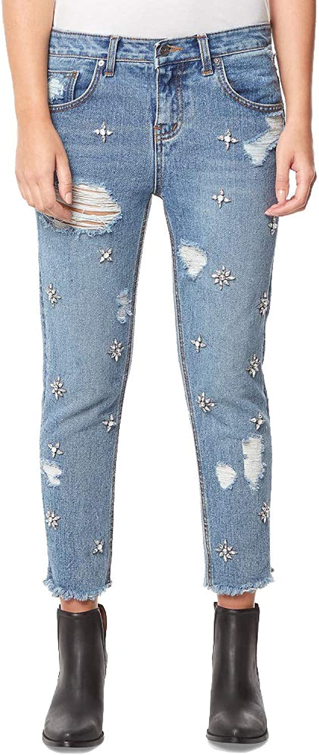 Buffalo David Bitton Cotton Embellished Destructed Boyfriend Ankle Jeans