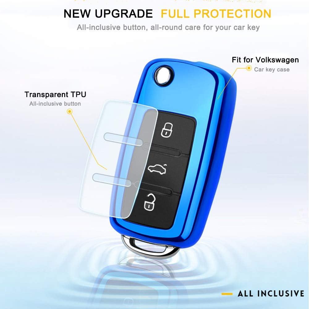 Silver QBUC Key Fob Cover Soft TPU Full Protection VW Key Fob case Key Holder Key Case Car Key Protector
