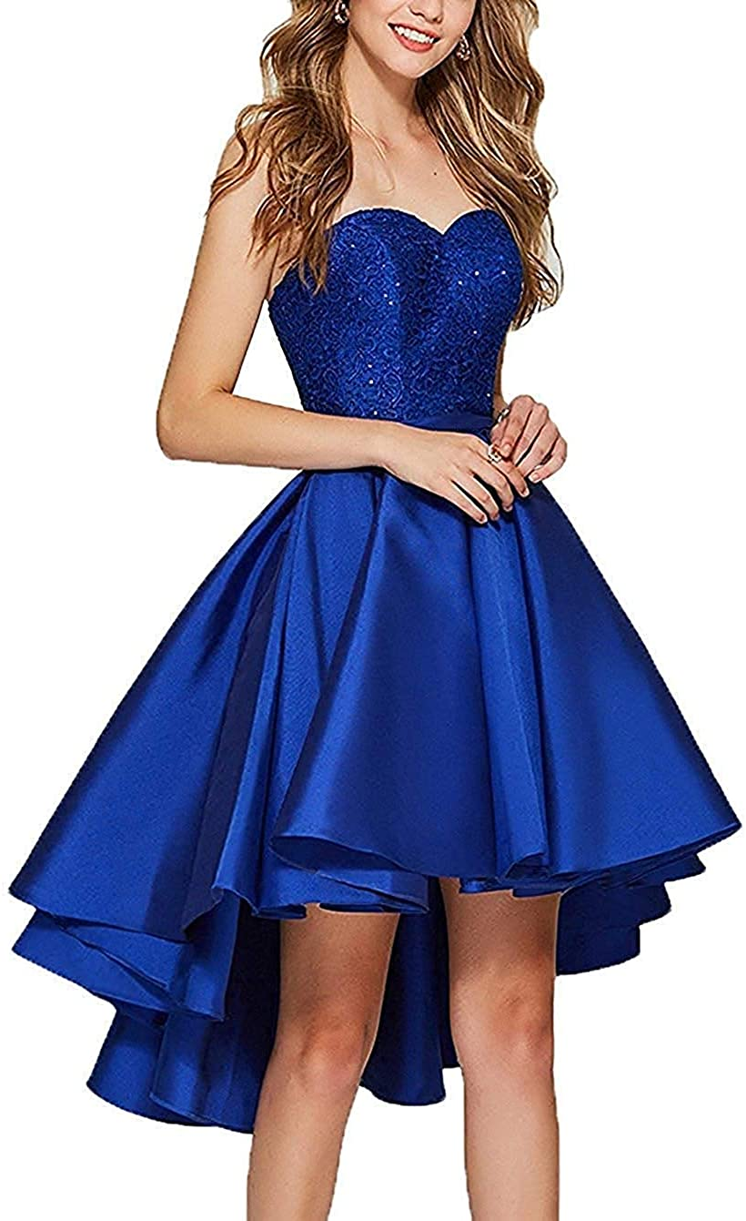 Prom Dress Lace Homecoming Dress High Low Strapless Prom Gown Low Back
