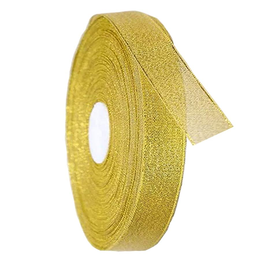 PartyMart Gold Ribbon for Gift, 25 Yards, 3/8 inch