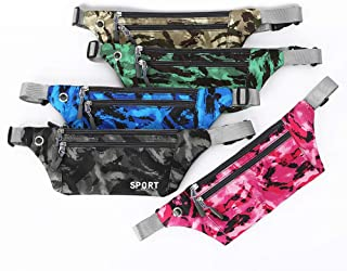 Outdoor Waterproof Running Belt Waist Pack with Adjustable Elastic Strap and Headphone Hole Ideal for All Mobile Phones, Multi-Functional Tactical Camouflage Pockets