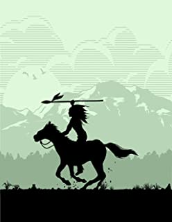 Eaiizer Poster Wall Art Print America Silhouette of Native American Indian Riding Horseback with Spear Apache 24x36 Inches Artwork for Home Bedroom Decor