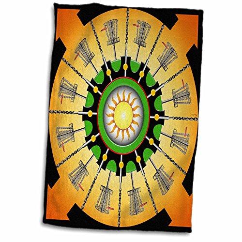 3dRose Sunny Frisbee Disc Golf Körbe mit Putter und Ketten Handtuch, Mehrfarbig, 15x 22