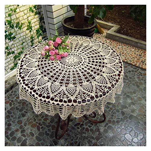 Clhbaih Manteles 1 UNID 80/90 / 100cm Mantel Redondo Mano Vintage Crochet...