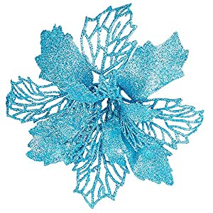 "Zhenrui 12 pcs 6"" Christmas Poinsettia Flower, Glitter Poinsettia Tree Ornaments, Sky Blue Artificial Flower Decorating Wreath Garland, Great for Wedding Holiday and Home Decor, with Stems"