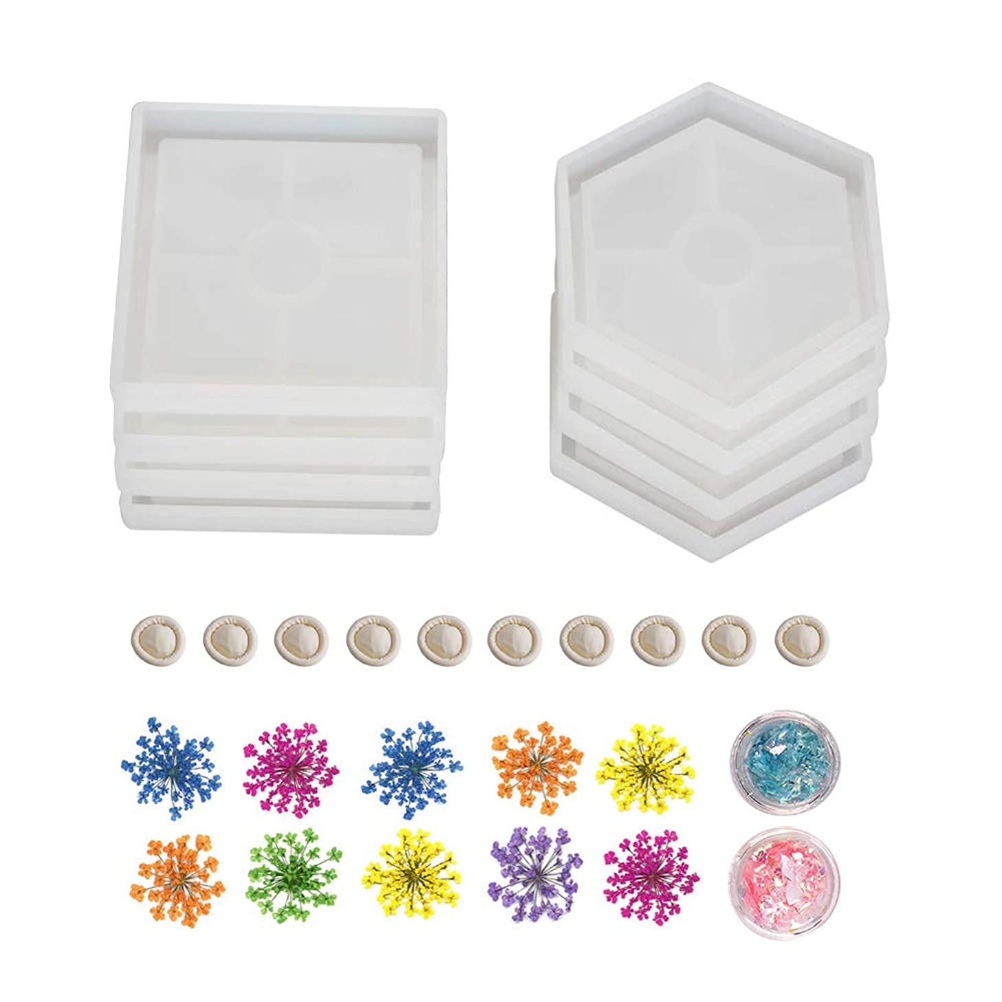 8 Pack Resin Silicone Coaster Molds, KeyZone Resin Art Molds Square Hexagon Silicone Molds with Flowers, Sequins and Finger Cots for Concrete, Cement, Soap Holder