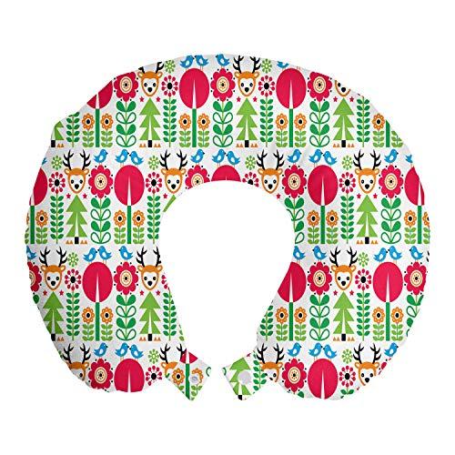 ABAKUHAUS Noruego Cojín de Viaje para Soporte de Cuello, Geométrica y Animalistic, Cómoda y Práctica Funda Removible Lavable, 30x30 cm, Multicolor