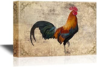 Libaoge Canvas Printing Wall Art - Birds and Poultry Canvas Wall Art - A Colorful Rooster - Retro Style Gallery Wrap Modern Wall Decor, Stretched | Ready to Hang - 8