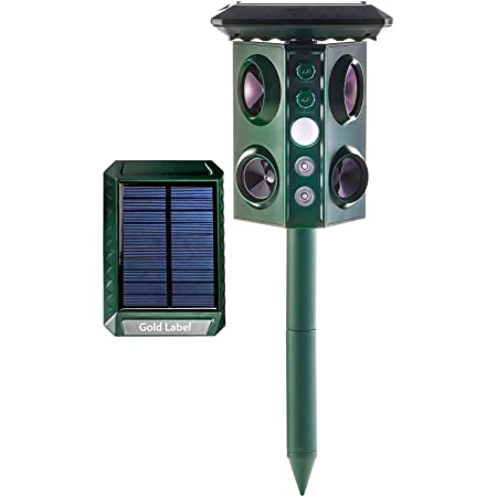 Lovhome Solar Powered Ultrasonic Rodent Repeller 2 Pack Outdoor Waterproof Pest Mole Repellet