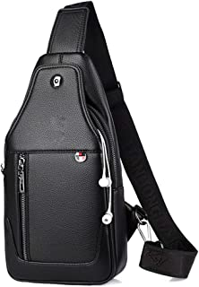 ZHD&CC Crossbody Bolsa Hombres Cuero Genuino Sling Bag Cofre Hombro Bolso Vintage Multiuspiado Anti Robo Negocio Casual Vi...