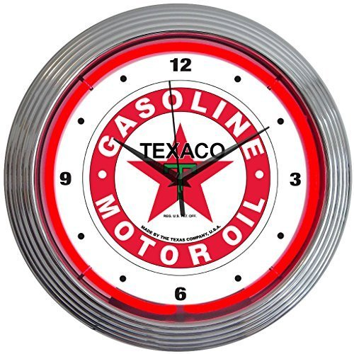 Neonetics Texaco Motor Oil Gasoline Neon Wall Clock, 15-Inch by Neonetics