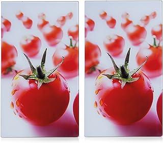 Zeller 26270 - Tabla para cortar de cristal, tomate, 52 x 30