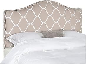 Safavieh Connie Pearl Grey Moroccan Pattern Camelback Headboard - Silver Nailhead (Full)