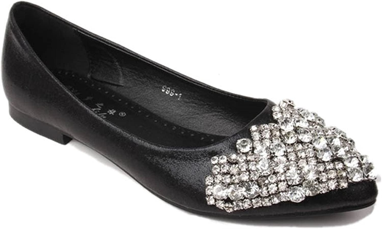 Henraly Fashion Pointed Toe Flats for Women Elegant Metallic Pu Crystal Women Flats Ladies Casual Slip-On Flat Wedding shoes