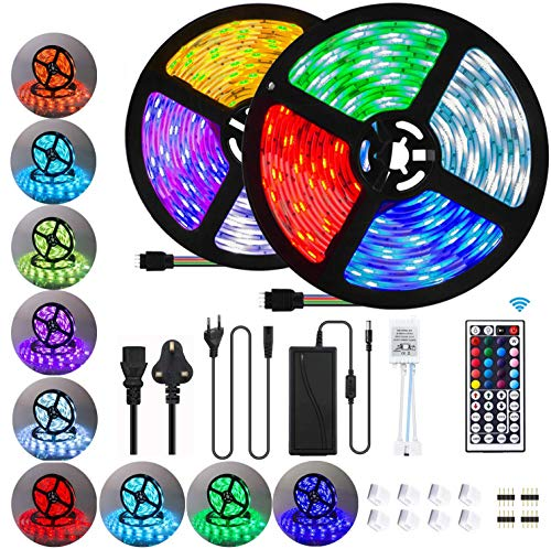 10M Tiras LED RGB 5050, 300 LEDs Tiras LED de Luces Kit con Control Remoto IR de 44 Teclas Adaptador de Alimentación 12V 6A.TV, Home, Bar [Clase de eficiencia energética A+++]