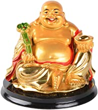 Brass Statu Resin Golden Laughing Buddha with Ingot Ruyi Statue Feng Shui Wealth Lucky Gift Decoration (A)