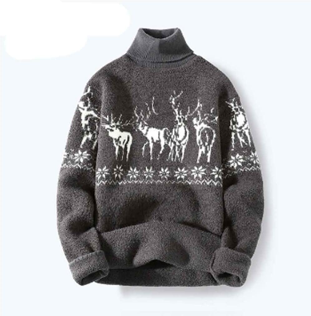 ZYING Autumn Casual Turtleneck Men Sweater with Deer Pullover Men Clothing Korean Men Turtle Neck Winter Clothes (Color : XL Code)