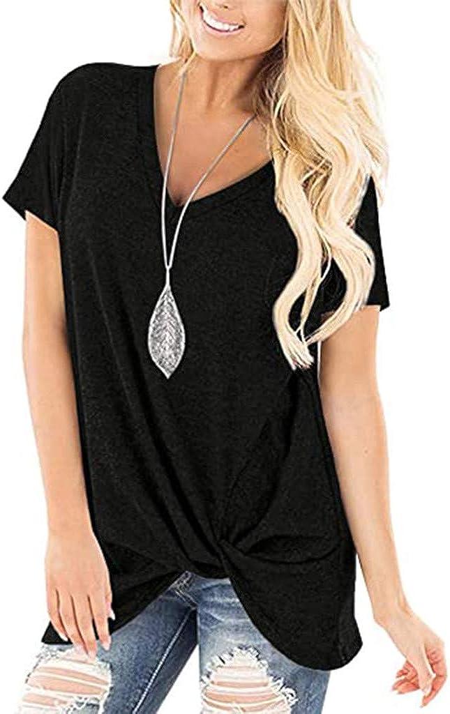 ONHUON Women's Tshirts,Women's Comfy Casual Solid Color Twist Knot V-Neck Tunics Tops Blouses Summer Tshirts