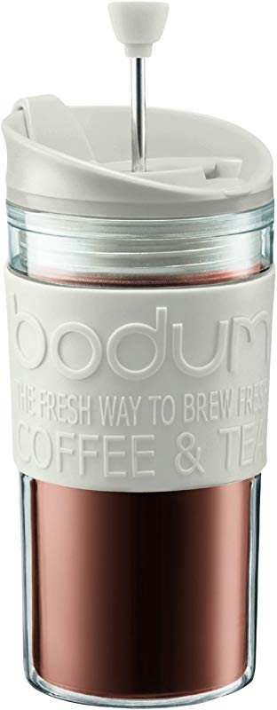 Bodum K11102 913 Travel Press Set Coffee Maker With Extra Lid 12 Oz White