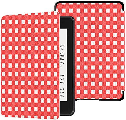 Gloednieuwe Kindle Paperwhite waterbestendige stoffen hoes (10e generatie, uitgave 2018), rood en wit geruit tafelkleed Vector tablethoes