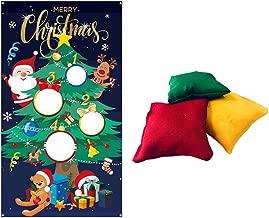 Amosfun Christmas Tree Bean Bag Toss Game Fun Indoor Christmas Outdoor Game Christmas Party Activities for Kids And Adults