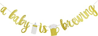 Gold Glittery A Baby is Brewing Banner- Baby Shower Party Gender Reveal Party Decoration Supplies Diaper Party Decor