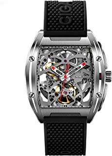 CIGA Design Watch Automatic Mechanical Wristwatch Tonneau Synthetic Sapphire Crystal Stainless Steel Case Silicone Strap Unisex Timepiece
