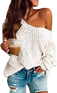 FSSE Women's Fall & Winter Long Sleeve Solid Knit Loose Pullover Sweater