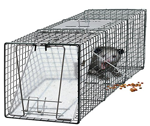 "OxGord Live Animal Trap 24"" x 7"" x 7"" Catch Release Humane Rodent Cage for Rabbits, Stray Cat, Squirrel, Raccoon, Mole, Gopher, Chicken, Opossum (Original Version)"